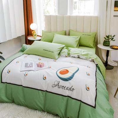2020新品-全棉轻奢平网系列四件套(2) 床单款三件套1.2m(4英尺)床 果动力
