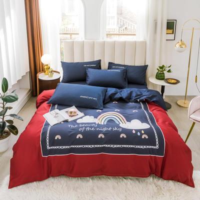2020新品-全棉轻奢平网系列四件套(2) 床单款三件套1.2m(4英尺)床 夜空