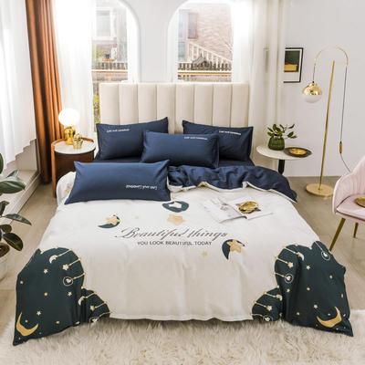 2020新品-全棉轻奢平网系列四件套(2) 床单款三件套1.2m(4英尺)床 月亮湾