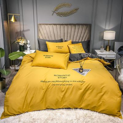 2020新款40R系列刺绣款-四件套 三件套1.2m床单款 R-姜黄+高级灰