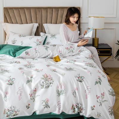 2020新款-60支长绒棉数码印花四件套 床单款四件套1.8m(6英尺)床 晨暮间 白