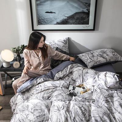 2020新款-60支长绒棉数码印花四件套 床单款四件套1.8m(6英尺)床 丛林灰
