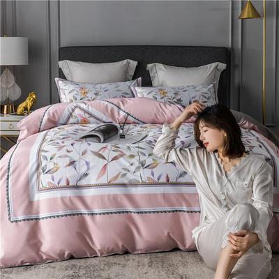 2020新款-60支长绒棉数码印花四件套 床单款四件套1.5m(5英尺)床 丛林密语 粉