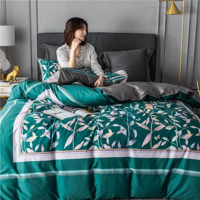 2020新款-60支长绒棉数码印花四件套 床单款四件套1.5m(5英尺)床 丛林密语 墨绿