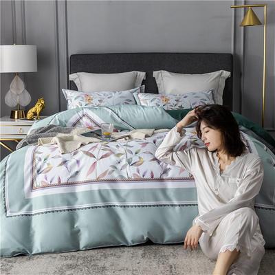 2020新款-60支长绒棉数码印花四件套 床单款四件套1.5m(5英尺)床 丛林密语 浅绿