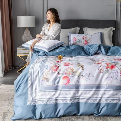 2020新款-60支长绒棉数码印花四件套 床单款四件套1.5m(5英尺)床 风雅小筑 蓝