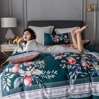 2020新款-60支长绒棉数码印花四件套 床单款四件套1.8m(6英尺)床 风雅小筑 绿