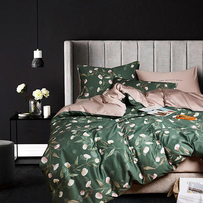 2020新款-60支长绒棉数码印花四件套 床单款四件套1.5m(5英尺)床 花开琉璃