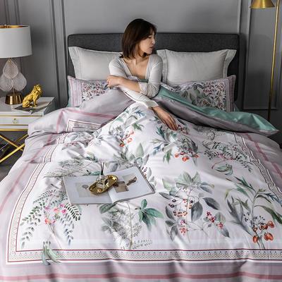2020新款-60支长绒棉数码印花四件套 床单款四件套1.8m(6英尺)床 花影钰淑 豆沙