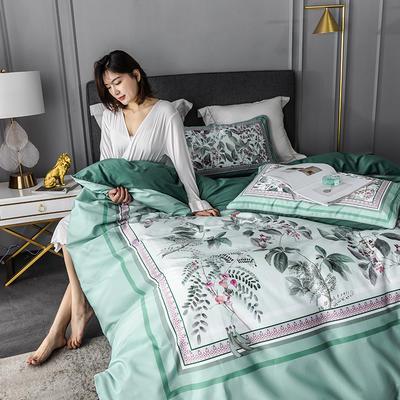 2020新款-60支长绒棉数码印花四件套 床单款四件套1.8m(6英尺)床 花影钰淑 绿