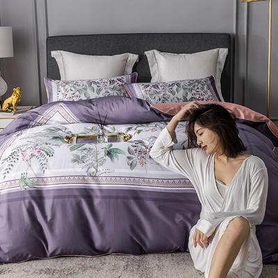 2020新款-60支长绒棉数码印花四件套 床单款四件套1.8m(6英尺)床 花影钰淑 紫