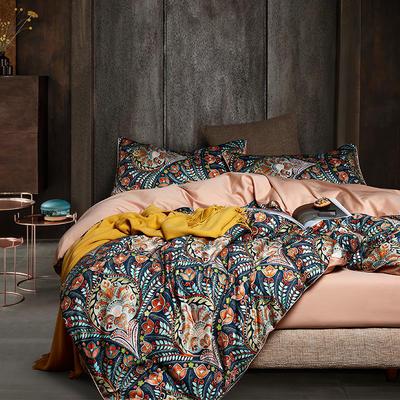 2020新款-60支长绒棉数码印花四件套 床单款四件套1.5m(5英尺)床 华尔兹