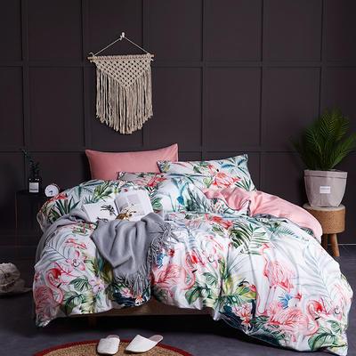 2020新款-60支长绒棉数码印花四件套 床单款四件套1.5m(5英尺)床 火鸟(粉)