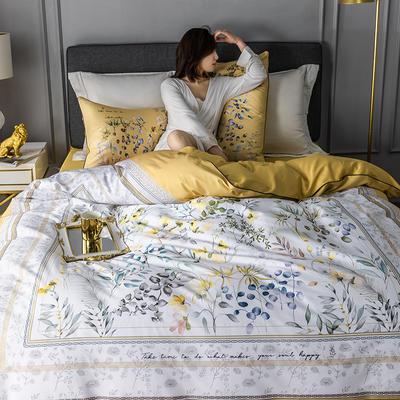 2020新款-60支长绒棉数码印花四件套 床单款四件套1.5m(5英尺)床 恋暮阳光 黄