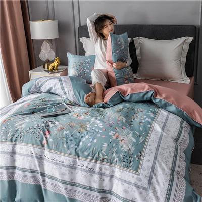 2020新款-60支长绒棉数码印花四件套 床单款四件套1.5m(5英尺)床 恋暮阳光 蓝