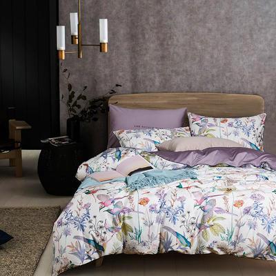 2020新款-60支长绒棉数码印花四件套 床单款四件套1.8m(6英尺)床 陌上花开