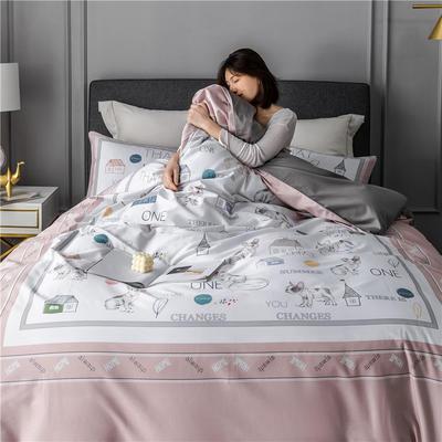 2020新款-60支长绒棉数码印花四件套 床单款四件套1.5m(5英尺)床 小小花园 粉