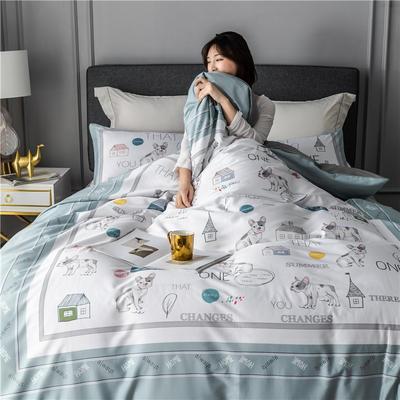 2020新款-60支长绒棉数码印花四件套 床单款四件套1.5m(5英尺)床 小小花园 蓝