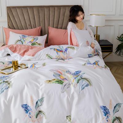 2020新款-60支长绒棉数码印花四件套 床单款四件套1.8m(6英尺)床 醉花都 白