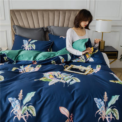 2020新款-60支长绒棉数码印花四件套 床单款四件套1.8m(6英尺)床 醉花都 蓝