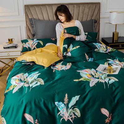 2020新款-60支长绒棉数码印花四件套 床单款四件套1.8m(6英尺)床 醉花都 绿