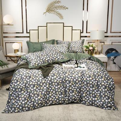2020新款-水洗真丝四件套 床单款四件套1.5m(5英尺)床 玫瑰语