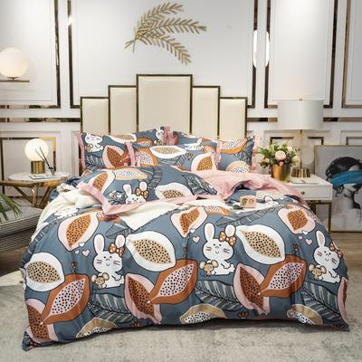 2020新款-水洗真丝四件套 床单款四件套1.5m(5英尺)床 木瓜兔子