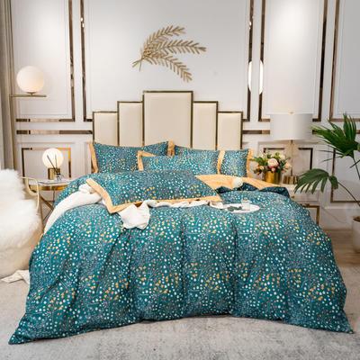 2020新款-水洗真丝四件套 床单款四件套1.5m(5英尺)床 小小花园
