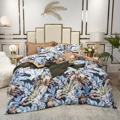 2020新款-水洗真丝四件套 床单款四件套1.5m(5英尺)床 云烟成雨