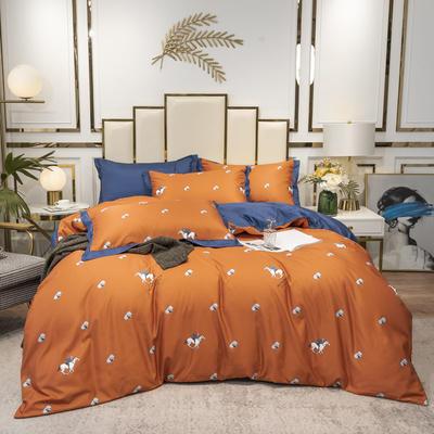 2020新款-水洗真丝四件套 床单款四件套1.5m(5英尺)床 轻奢马