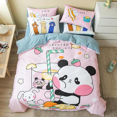 全棉平网系列四件套 床单款1.2m被套160*210 快乐熊