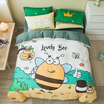 全棉平网系列四件套 床单款1.2m被套160*210 劳小蜂