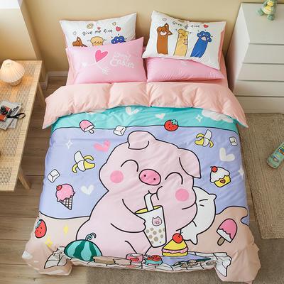 全棉平网系列四件套 床单款1.5m被套180*220 猪盼盼
