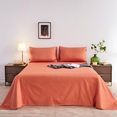 2020新款-全棉40H系列刺绣-单床单 245*250 桔色