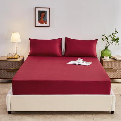 2020新款-全棉40H系列刺绣-单床笠 120cmx200cm 朵红
