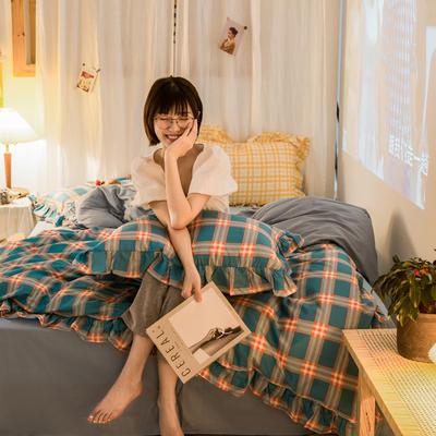 2020秋冬-全棉荷叶边格调系列四件套 床单款四件套1.5m(5英尺)床 荷布丁格