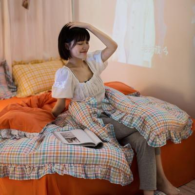 2020秋冬-全棉荷叶边格调系列四件套 床单款四件套1.5m(5英尺)床 荷多彩格