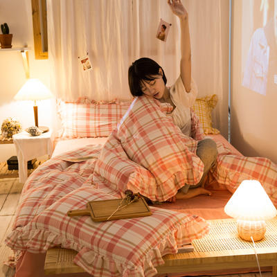 2020秋冬-全棉荷叶边格调系列四件套 床单款四件套1.5m(5英尺)床 荷格语粉