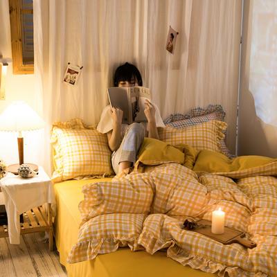 2020秋冬-全棉荷叶边格调系列四件套 床单款四件套1.5m(5英尺)床 荷芒果格