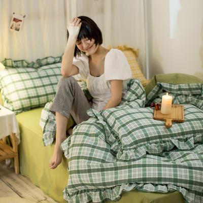 2020秋冬-全棉荷叶边格调系列四件套 床单款四件套1.5m(5英尺)床 荷抹茶格