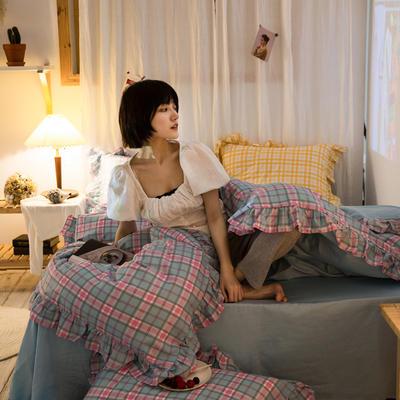 2020秋冬-全棉荷叶边格调系列四件套 床单款四件套1.5m(5英尺)床 荷学院格