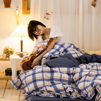 2020秋冬-全棉荷叶边格调系列四件套 床单款四件套1.5m(5英尺)床 荷英伦格