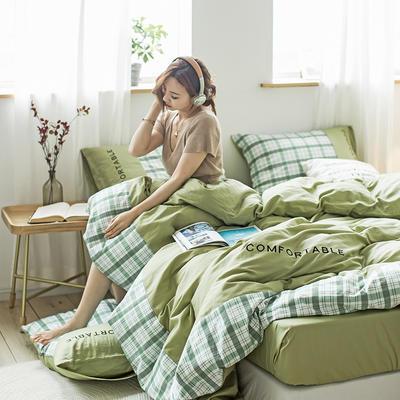 2020新款-秋冬全棉色格拼角系列四件套 床单款四件套1.5m(5英尺)床 色格牛油果绿