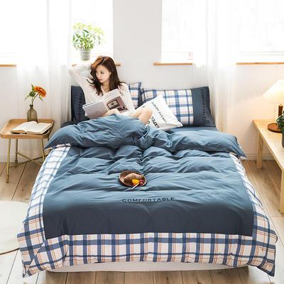 2020新款-秋冬全棉色格拼角系列四件套 床单款四件套1.5m(5英尺)床 色格牛仔蓝