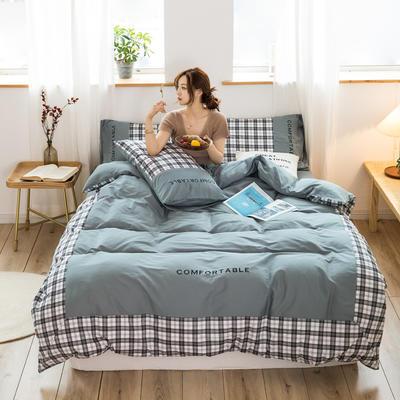 2020新款-秋冬全棉色格拼角系列四件套 床单款四件套1.5m(5英尺)床 色格浅灰