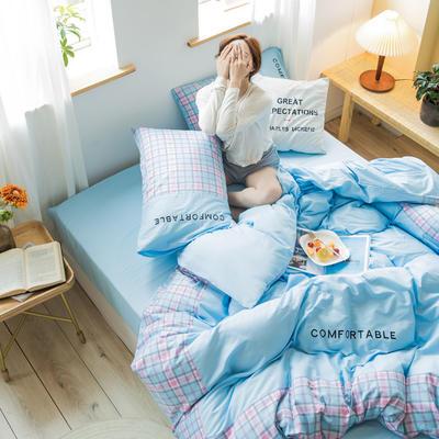 2020新款-秋冬全棉色格拼角系列四件套 床单款四件套1.5m(5英尺)床 色格浅兰