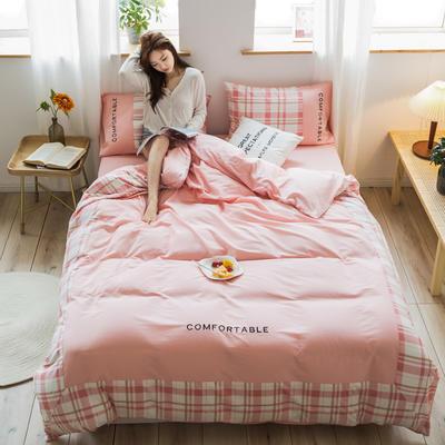 2020新款-秋冬全棉色格拼角系列四件套 床单款三件套1.2m(4英尺)床 色格樱花粉