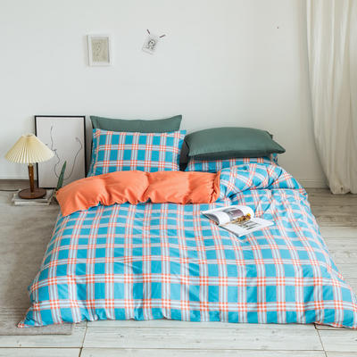 2020秋冬新款-全棉格调撞色系列四件套(白景图) 床单款四件套1.8m(6英尺)床 布丁格桔蓝绿