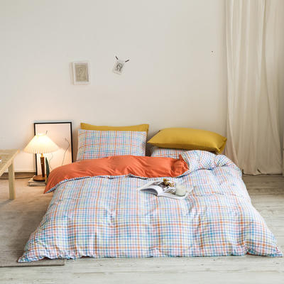 2020秋冬新款-全棉格调撞色系列四件套(白景图) 床单款四件套1.8m(6英尺)床 多彩格桔粉黄