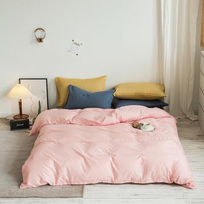 2020秋冬新款-全棉格调撞色系列四件套(白景图) 床单款四件套1.5m(5英尺)床 格调粉绿蓝黄